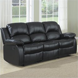 Bowery Hill Double Reclining Leather Sofa in Black