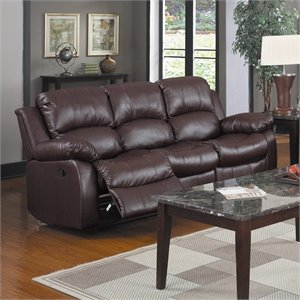 Bowery Hill Double Reclining Leather Sofa in Brown