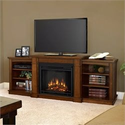 Bowery Hill Electric Fireplace TV Stand in Burnished Oak