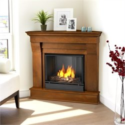 Bowery Hill Gel Corner Fireplace in Espresso Finish