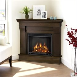 Bowery Hill Electric Corner Fireplace in Dark Walnut Finish