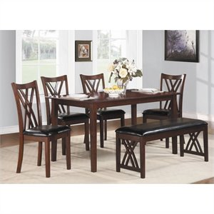 Bowery Hill 6 Piece Dinette Table Set in Warm Cherry