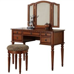 Bowery Hill Vanity Set with Stool in Walnut