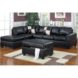 Bowery Hill 3-Piece Sectional in Black