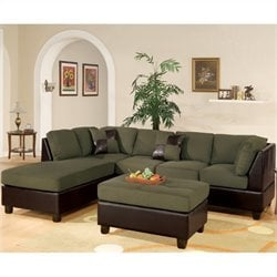 Bowery Hill Microfiber 3 Piece Sectional in Sage