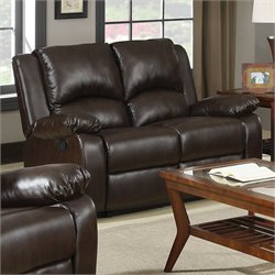 Bowery Hill Double Reclining Faux Leather Love Seat in Brown