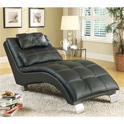 Bowery Hill Casual and Contemporary Living Room Leather Chaise in Black