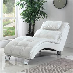 Bowery Hill Casual and Contemporary Living Room Leather Chaise in White