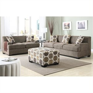 Bowery Hill Faux Linen Sofa and Loveseat Set in  Slate