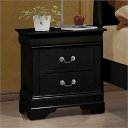 Bowery Hill Two Drawer Nightstand in Black