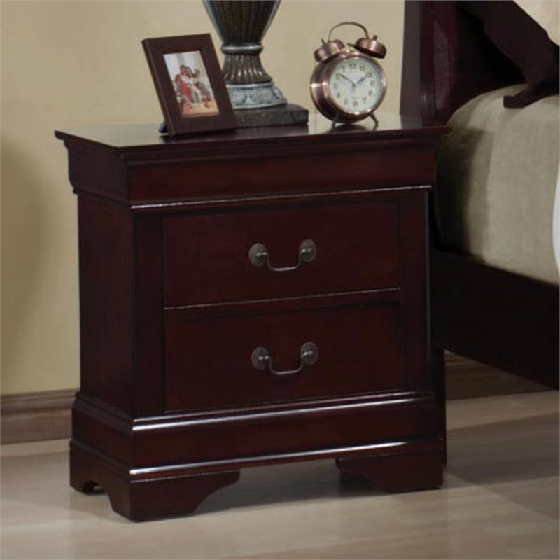 Bowery Hill Two Drawer Nightstand In Rich Cherry Bh 431901