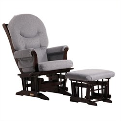 Bowery Hill Sleigh Glider Recliner and Ottoman Set in Espresso and Dark Grey