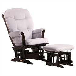Bowery Hill Sleigh Glider Recliner and Ottoman Set in Espresso and Light Grey