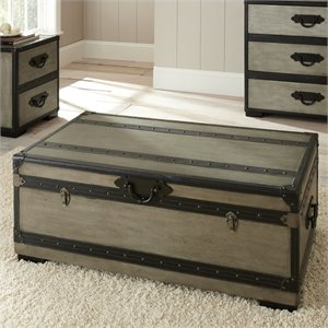 Bowery Hill Trunk and Cocktail Table in Weathered Gray Finish