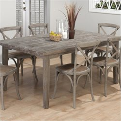 Bowery Hill Solid Oak Rectangular Leg Dining Table in Burnt Grey