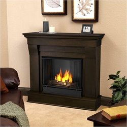 Bowery Hill Ventless Gel Fireplace in Dark Walnut Finish