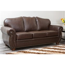 Bowery Hill 2 Piece Leather Sofa Set in Dark Truffle