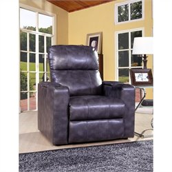 Bowery Hill Leather Power Recliner in Gray
