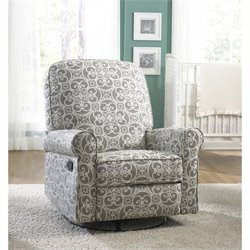 Bowery Hill Fabirc Swivel Glider Recliner in Gray