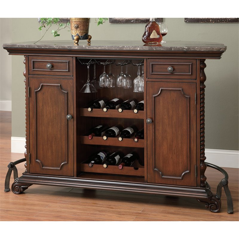 Bowery Hill Traditional Home Bar Unit With Marble Top In Cherry Bh 451187