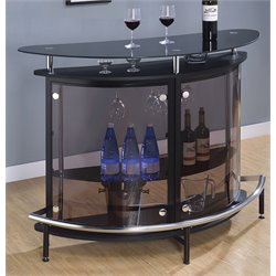 Bowery Hill Contemporary Home Bar Unit with Smoked Acrylic Front