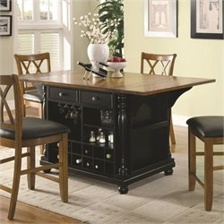 Bowery Hill Kitchen Carts Two-Tone Kitchen Island with Drop Leaves
