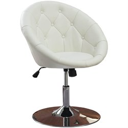 Bowery Hill Round Tufted Faux Leather  Swivel Accent Chair in White