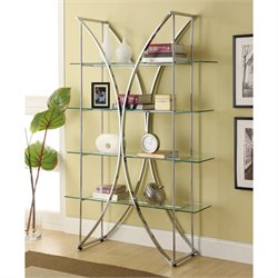 Bowery Hill X Motif Bookshelf with Floating Style Glass Shelves in Chrome