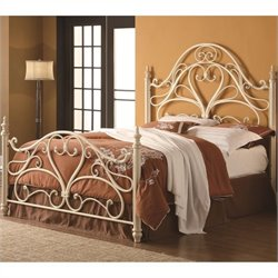Bowery Hill Queen Ornate Spindle Headboard and Footboard in Egg Shell