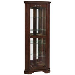 Bowery Hill 5 Shelf Corner Curio Cabinet in Cherry