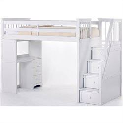 Bowery Hill Stair Loft Bed in White