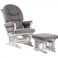 Bowery Hill Sleigh Glider and Ottoman Set in Dark Grey