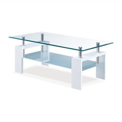 Bowery Hill Frosted Glass Coffee Table in Glossy White