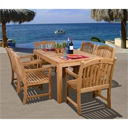 Bowery Hill 7 Piece Wood Patio Dining Set in Teak
