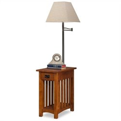 Bowery Hill Mission Chairside Solid Wood Lamp Table Medium in Oak