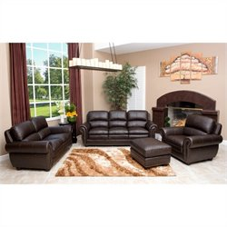 Bowery Hill 4 Piece Leather Sofa Set in Brown