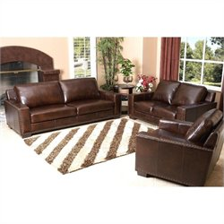 Bowery Hill 3 Piece Leather Sofa Set in Espresso