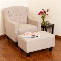 Bowery Hill Arm Chair and Ottoman in Beige