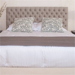 Bowery Hill Adjustable Full Queen Tufted Panel Headboard in Beige