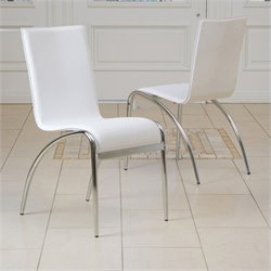 Bowery Hill Modern Dining Chair in White (Set of 2)