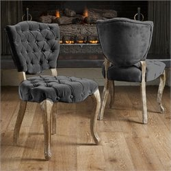 Bowery Hill Tufted Fabric Dining Chairs in Grey (Set of 2)