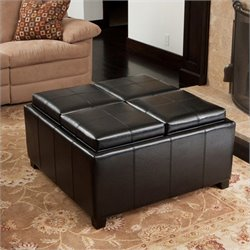 Bowery Hill 4 Sectioned Storage Ottoman in Black
