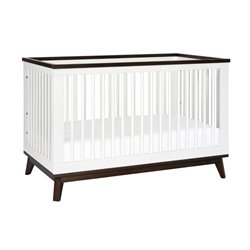Bowery Hill 3-in-1 Convertible Crib with Toddler Bed Conversion Kit in White Walnut