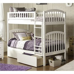 Bowery Hill Bunk Twin over Twin with UBD in White