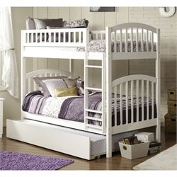 Bowery Hill Bunk Twin over Twin with Trundle in White
