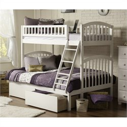 Bowery Hill Bunk Twin over Full with UBD in White