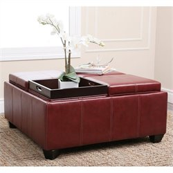 Bowery Hill Square Faux Leather Ottoman Coffee Table in Red