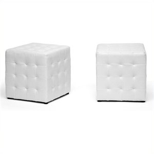 Bowery Hill Cube Ottoman in White (Set of 2)