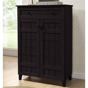 Bowery Hill Tall Shoe Cabinet in Dark Brown