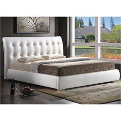 Bowery Hill King Platform Bed with Tufted Headboard in White
